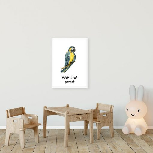 Plakat z papugą do pokoju dziecka