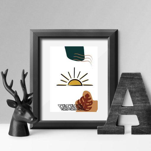 Plakat musztardowy zachód słońca