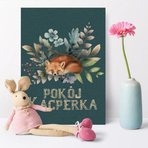 Plakat z liskiem i napisem do pokoju dziecka