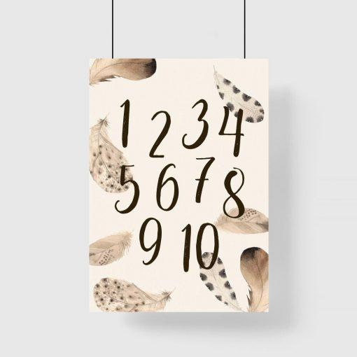 Liczby i pióra - brązowy plakat dziecięcy