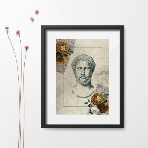 Plakat kwiaty i rzeźba