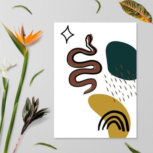 Wąż i abstrakcja na plakacie