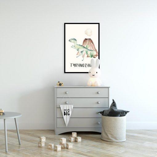 Plakat do pokoju rodzeństwa z motywem zielonego tyranozaura
