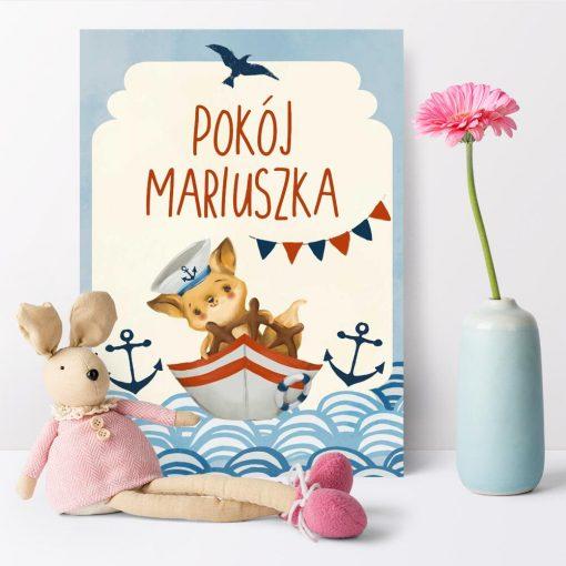 Personalizowany plakat ze statkiem dla dzieci