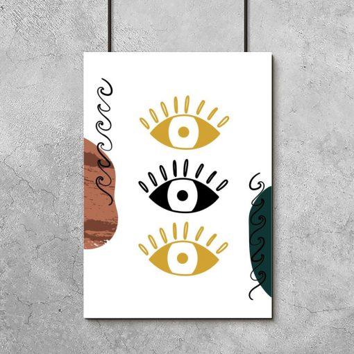 Plakat z oczami i kleksami