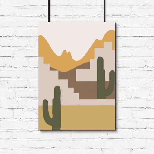 Plakat z widokiem na pustynię