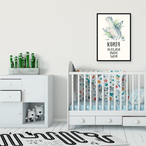 Plakat metryczka z motywem dinozaura dla chłopca