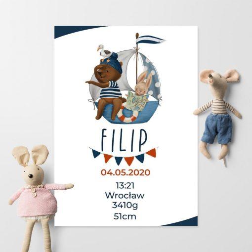 Plakat dziecięcy z metryczką - Niebieski statek