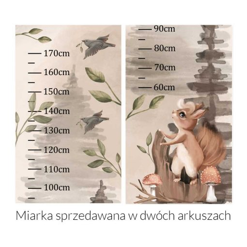 Beżowa miarka wzrostu z leśnym motywem
