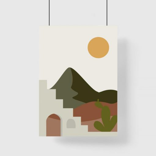 Plakat z kaktusami