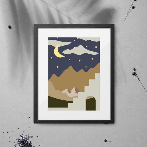 Plakat nocne niebo z chmurkami