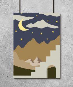 Plakat niebo i chmury nad górami