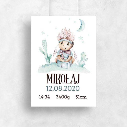 Plakat z imieniem dla chłopca - Dziecko w pióropuszu