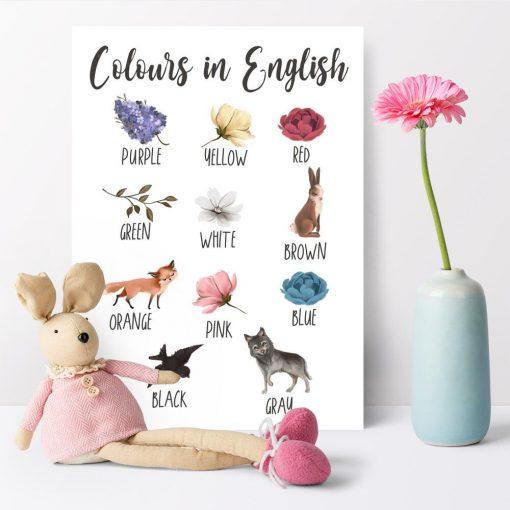 Plakat do nauki kolorów dla dzieci