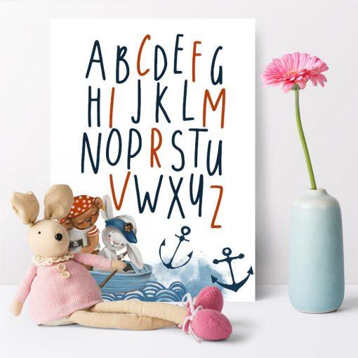 Alfabet plakat w marynarskim stylu