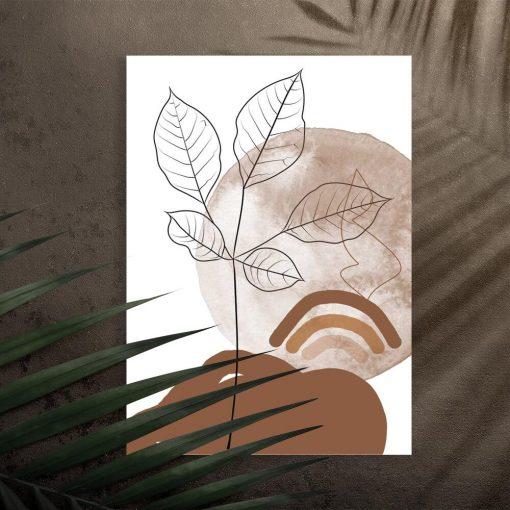 Plakat szkic listków na tle pejzażu
