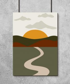 Plakat słońce i droga