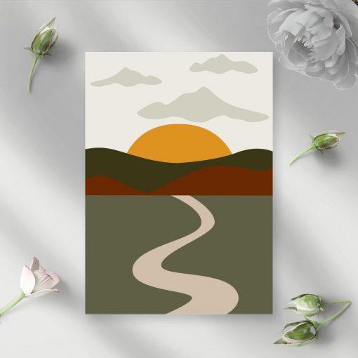 Plakat wzgórza ora achodzące słońce