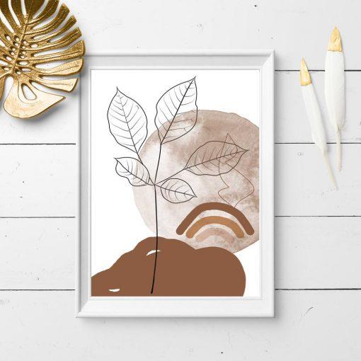 Plakat rysunek liści i abstrakcyjny widoczek