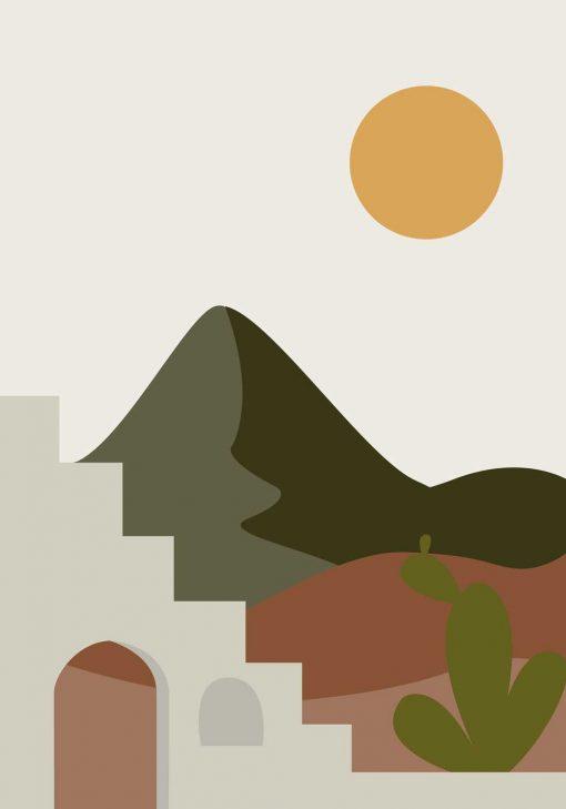 Plakat słońce, góry i katusy