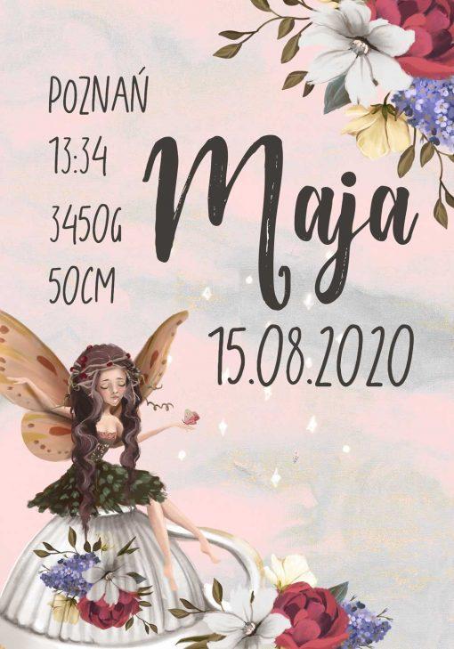 Plakat- Metryczka dla dziewczynek z leśnym elfem