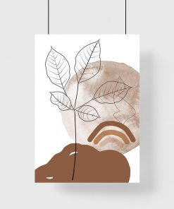 Plakat do poczekalni z krajobrazem i szkicem liści