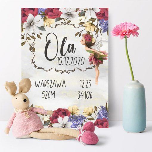 Plakat - Metryczka dla dziewczynek - Polny elf