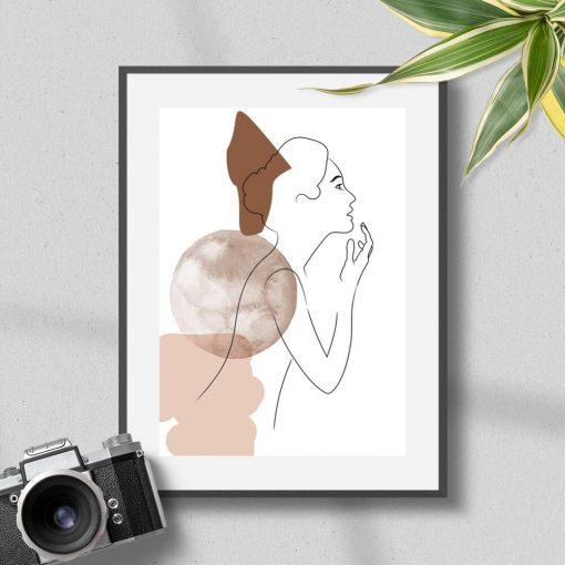 Plakat z motywem abstrakcji i kobiecej sylwetki
