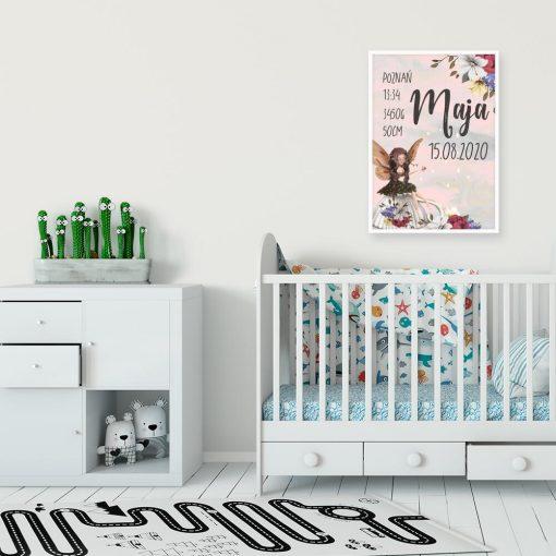 Plakat imienny z uroczym elfem dla dziewczynki