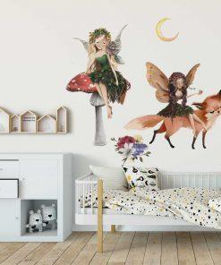 Dziecięce naklejki - Leśne elfy i lis