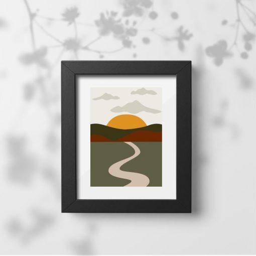 Plakat wzgórza i słońce