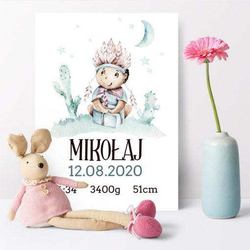 Plakat z metryczką dla niemowlaka