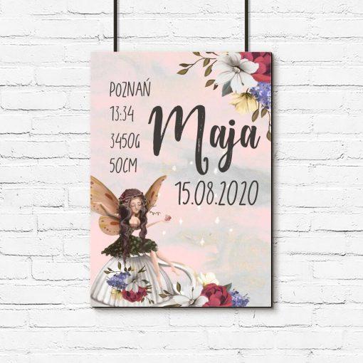 Plakat - Metryczka dla niemowląt z leśnym elfem