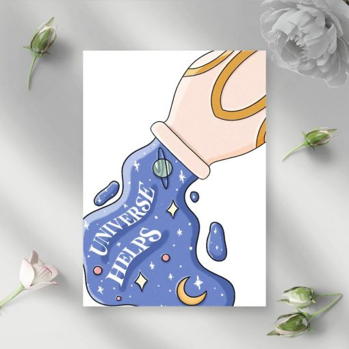 Plakat z napisem universe helps, gwiazdami i księżycemn