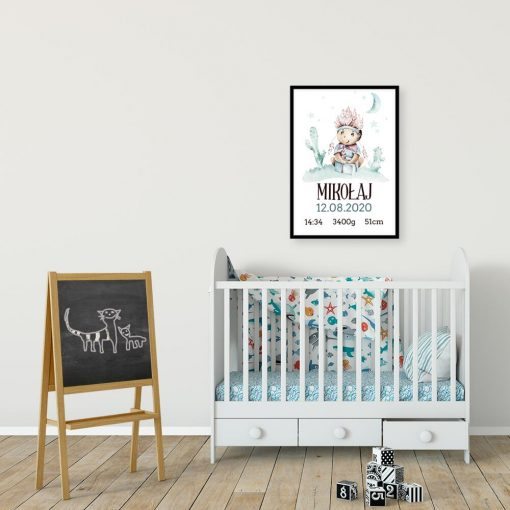 Plakat z imieniem dla dziecka - Chłopczyk w pióropuszu