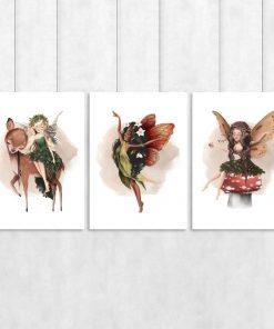 Plakaty tryptyki z bajkowymi postaciami