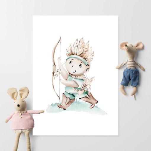 Plakat dla dziecka z indianinem