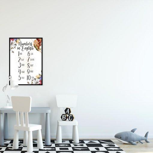 Plakat dziecięcy z wróżką i cyferkami