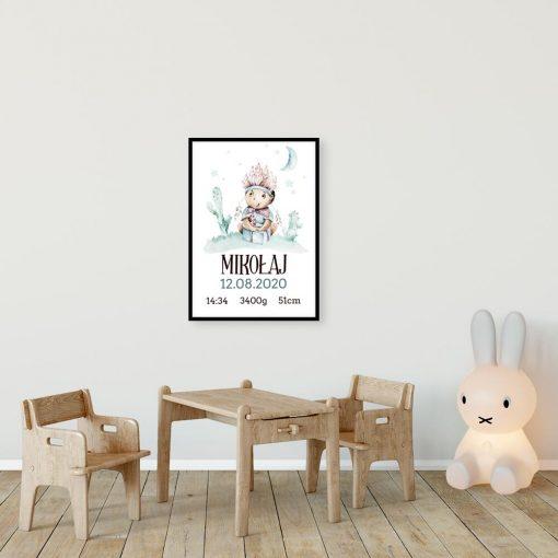 Plakat z metryczka dla dziecka - Chłopiec w pióropuszu