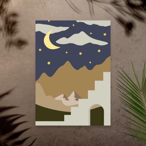 Plakat księżyc i gwiazdy