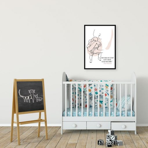 Plakat z sentencją dla mamy nad łóżeczko dzieci