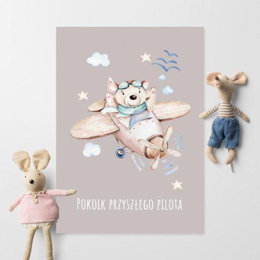 Plakat dziecięcy - Miś pilot dla przedszkolaka