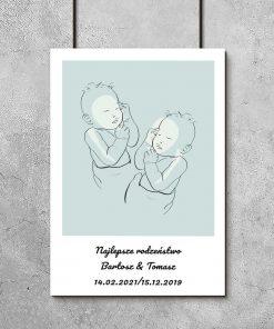 Nowoczesny plakat dziecięcy w kolorze niebieskim z motywem line art