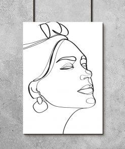 Artystyczny plakat line art z kobiecą twarzą