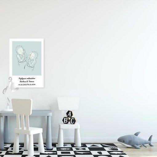 Nowoczesny niebieski plakat dziecięcy z bobasami