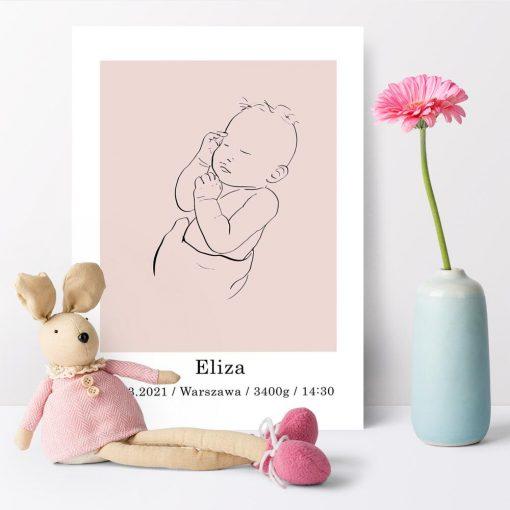 Różowy plakat personalizowany line art nad łóżeczko dziecka