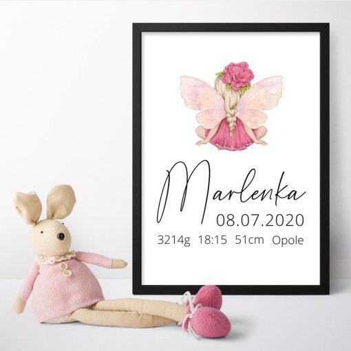 Plakat z metryczką dla noworodka