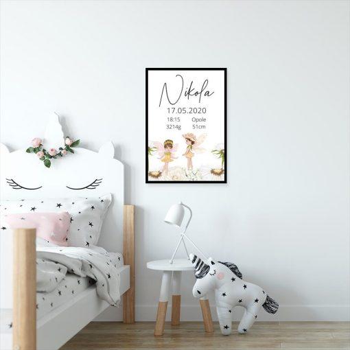 Plakat dla dziecka z danymi urodzeniowymi - metryczka