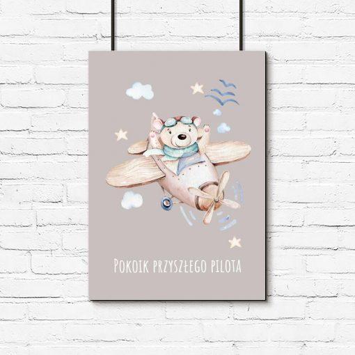 Plakat dla chłopca - Miś pilot