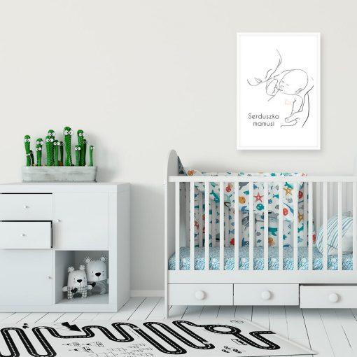 Minimalistyczny plakat dla dzieci z serduszkiem do pokoju przedszkolaka